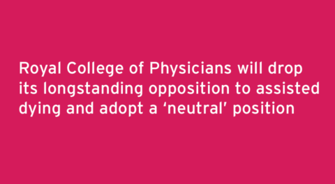 No majority view on assisted dying moves RCP position to neutral